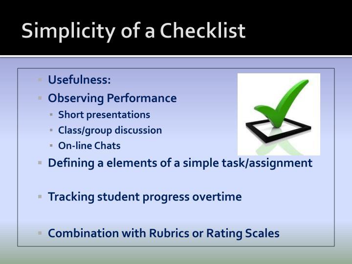Simplicity of a Checklist