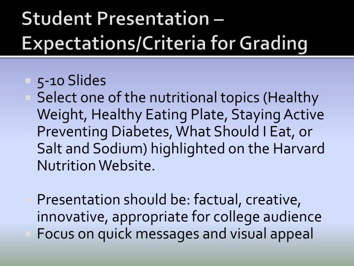 Student Presentation – Expectations/Criteria for Grading