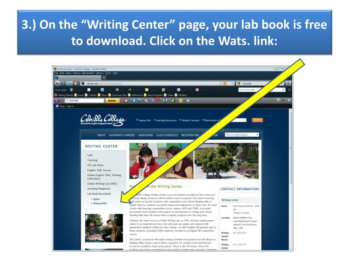 "3.) On the ""Writing Center"" page, your lab book is free to download. Click on the"