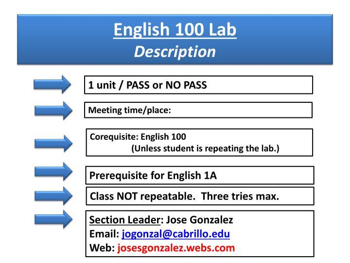 English 100 Lab