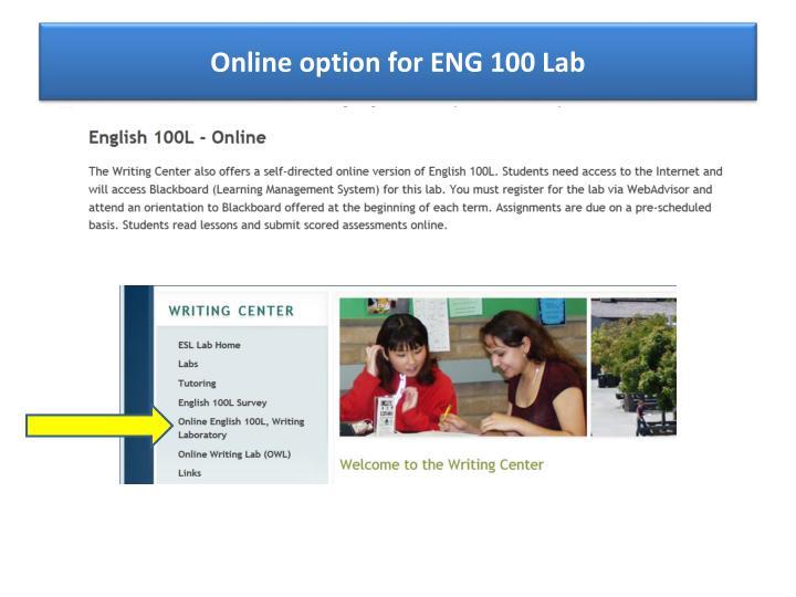 Online option for ENG 100 Lab