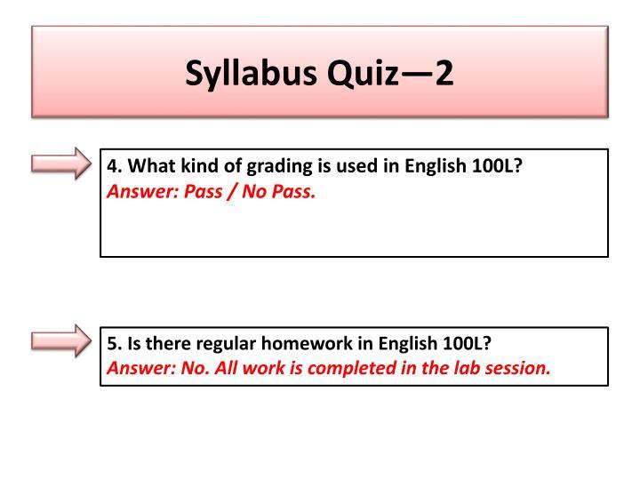 Syllabus Quiz—2