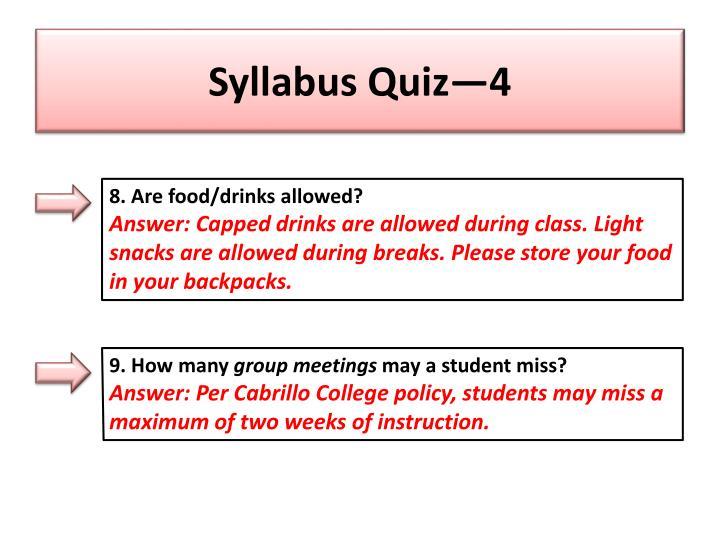 Syllabus Quiz—4