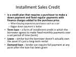 installment sales credit