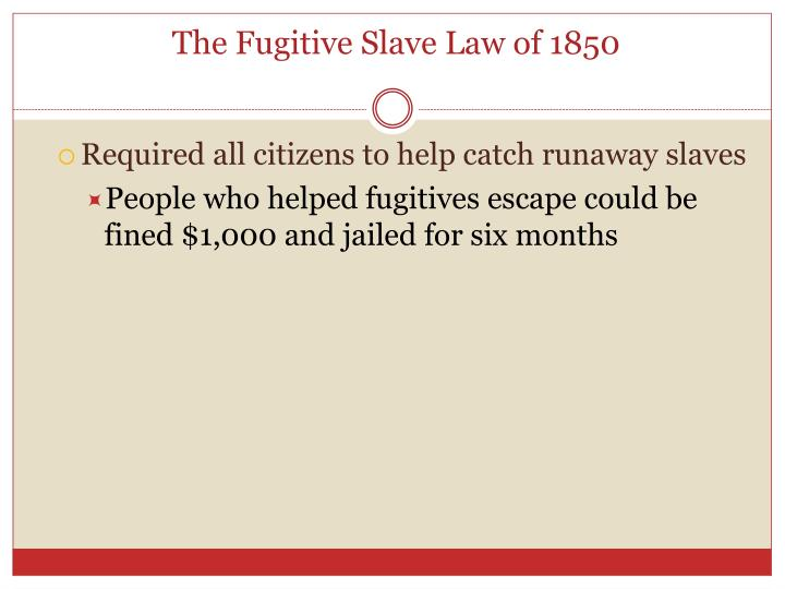 The Fugitive Slave Law of 1850