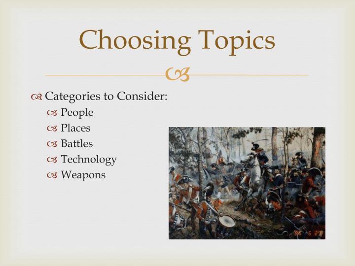 Choosing Topics