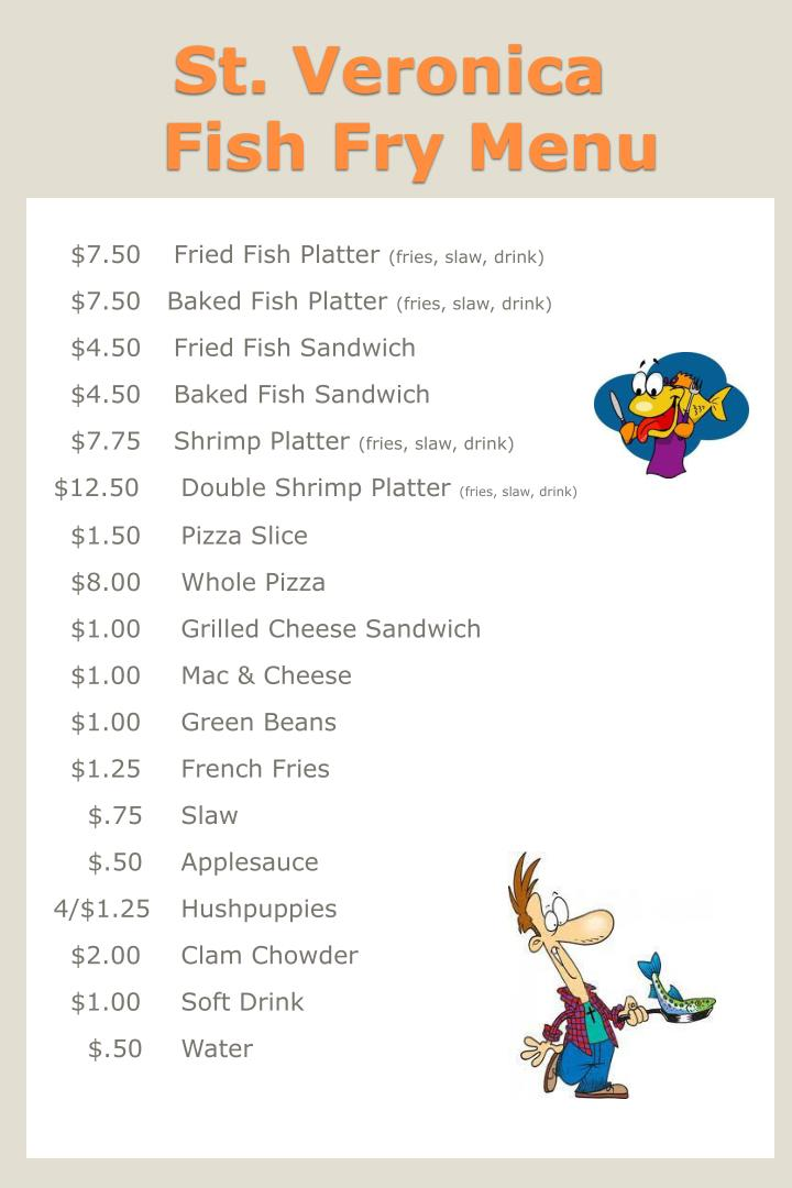 Ppt st veronica fish fry menu powerpoint presentation for Fish fry menu