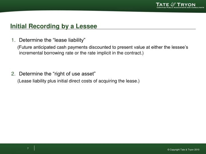Initial Recording by a Lessee