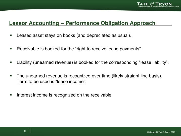 Lessor Accounting – Performance Obligation Approach