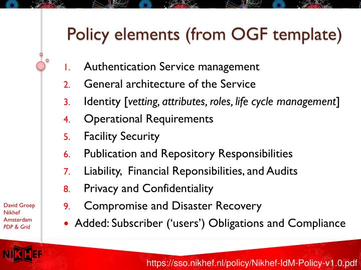 Policy elements (from OGF template)