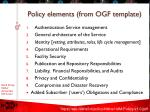 policy elements from ogf template