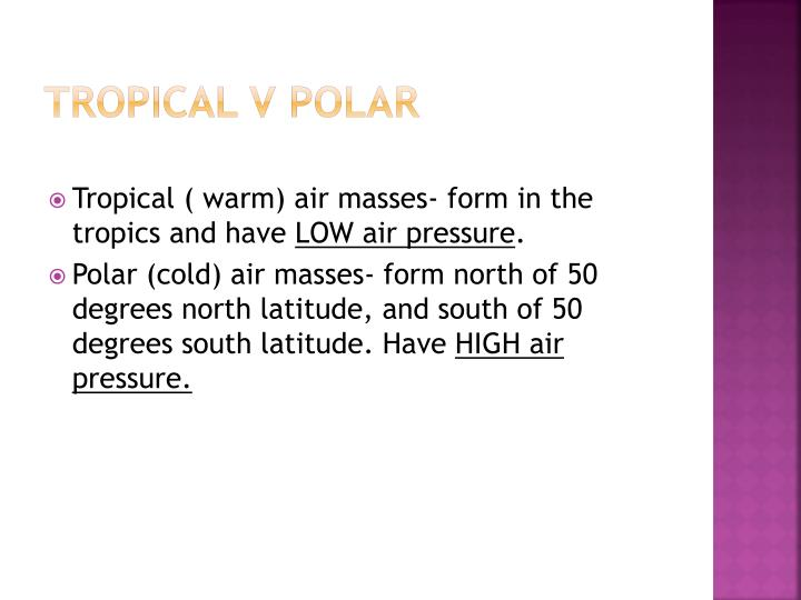 Tropical v Polar