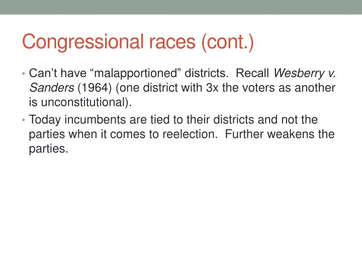 Congressional races (cont.)