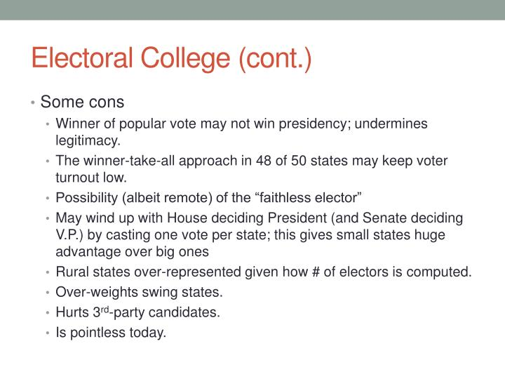Electoral College (cont.)