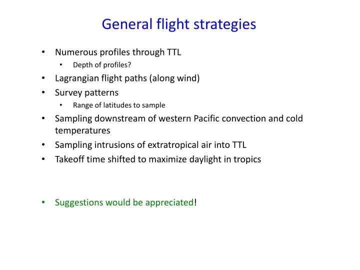 General flight strategies