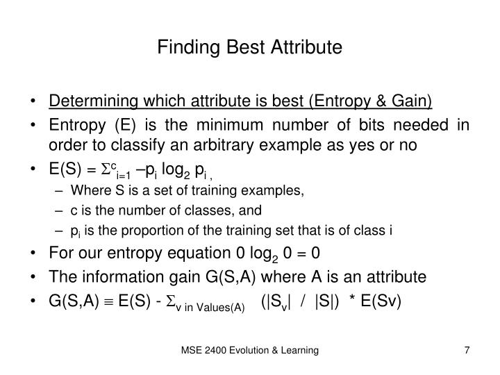 Finding Best Attribute