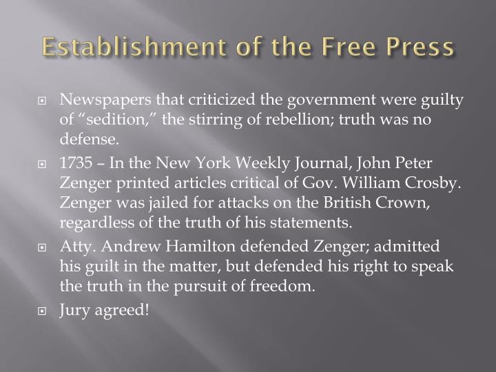 Establishment of the Free Press