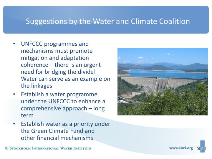 Suggestions by the Water and Climate Coalition