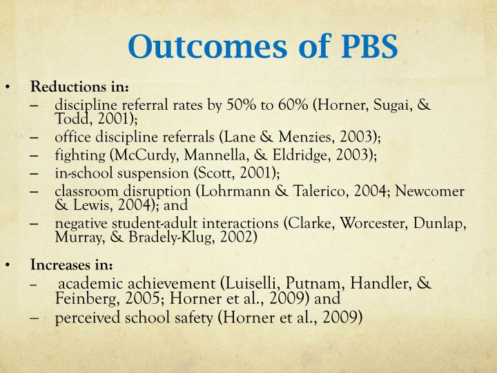 Outcomes of PBS