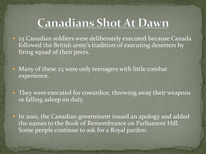 Canadians Shot At Dawn
