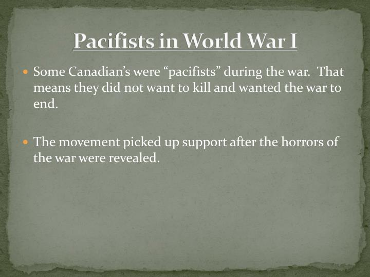 Pacifists in World War I