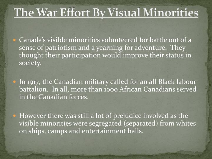 The War Effort By Visual Minorities