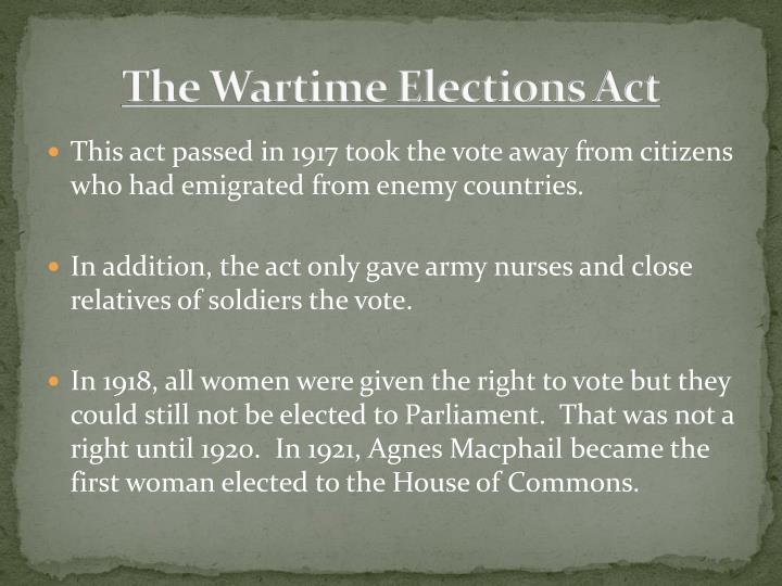 The Wartime Elections Act