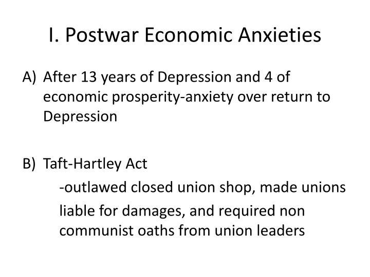 I. Postwar Economic Anxieties