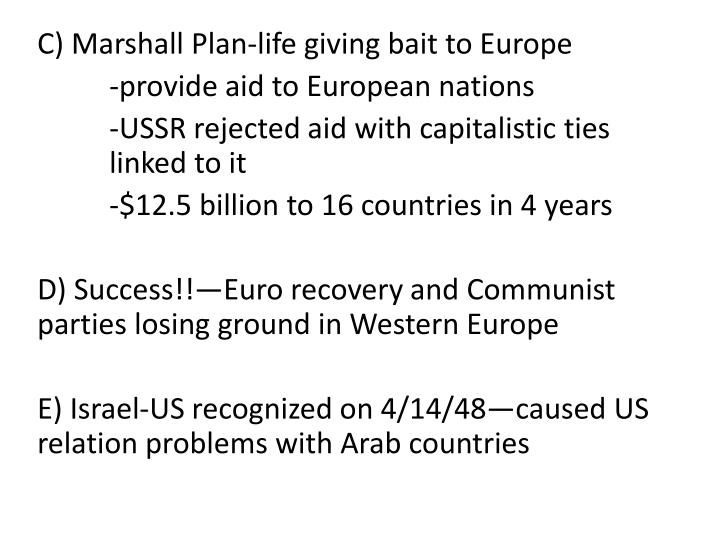 C) Marshall Plan-life giving bait to Europe