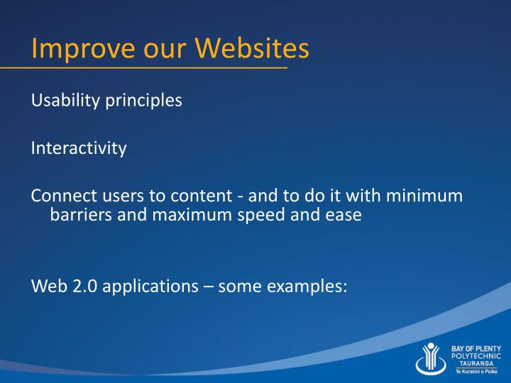 Improve our Websites