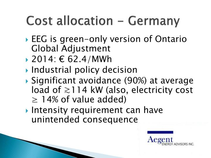 Cost allocation - Germany