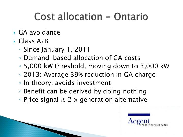 Cost allocation - Ontario