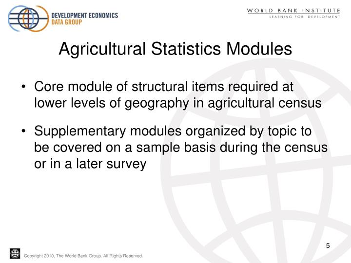 Agricultural Statistics Modules