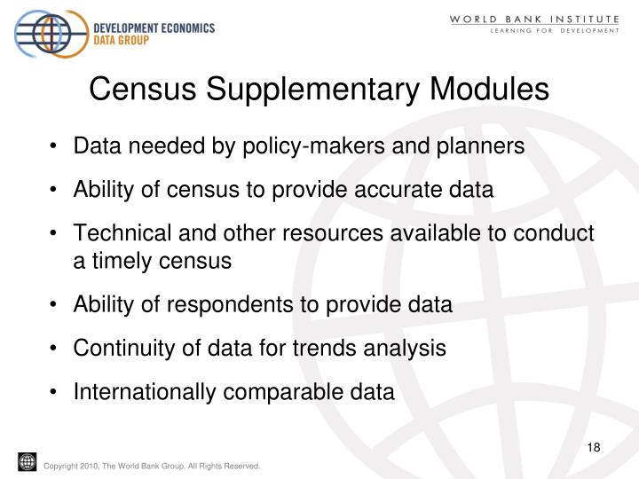 Census Supplementary Modules