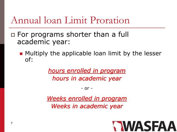 Annual loan Limit Proration