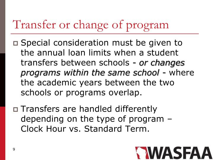 Transfer or change of program