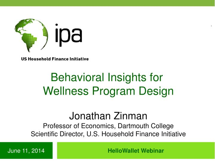 Behavioral Insights for