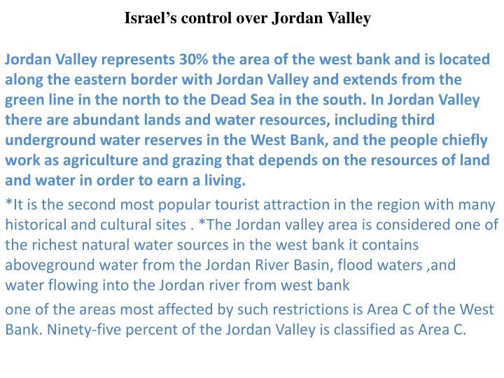 Israel s control over jordan valley