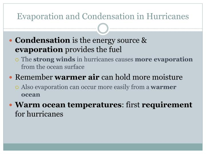 Evaporation and Condensation in Hurricanes