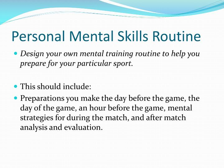 Personal Mental Skills Routine