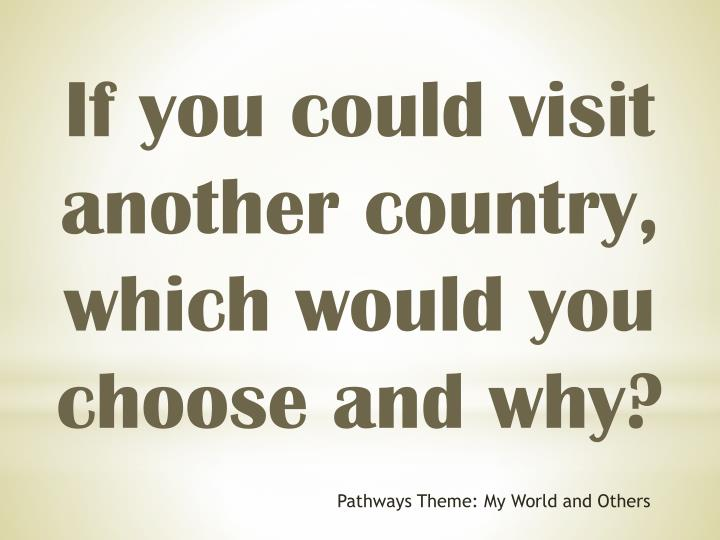 If you could visit another country, which would you