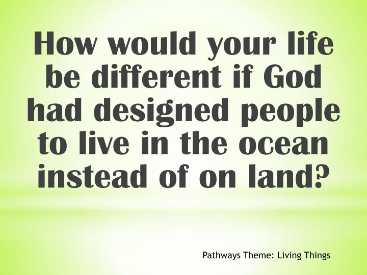How would your life be different if God had designed people to live in the ocean instead of on land?