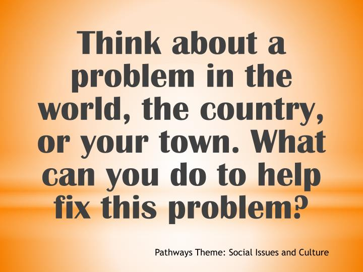 Think about a problem in the world, the country, or your town. What can you do to help fix this problem?