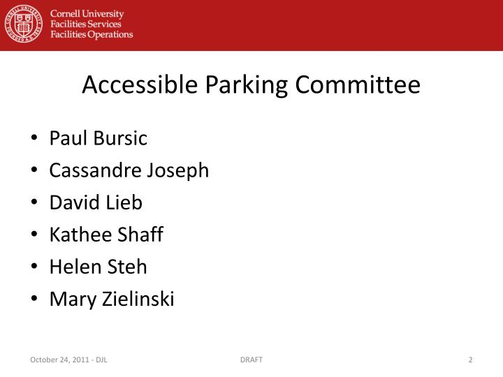 Accessible parking committee