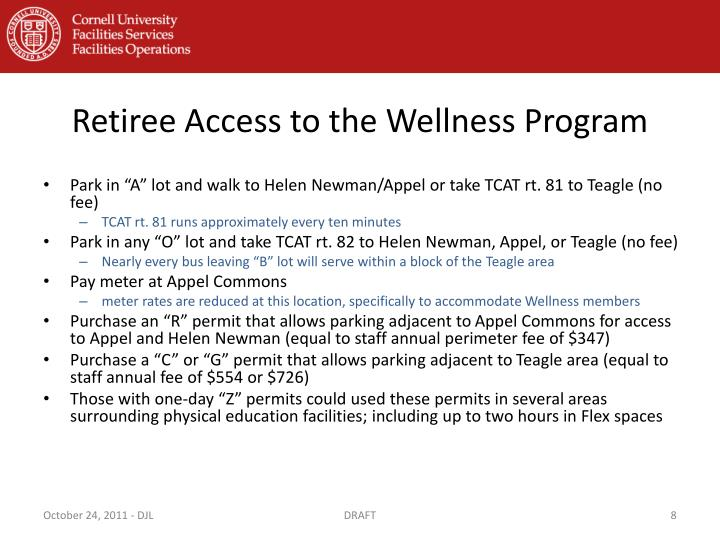 Retiree Access to the Wellness Program