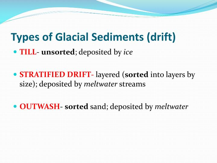 Types of Glacial Sediments (drift)