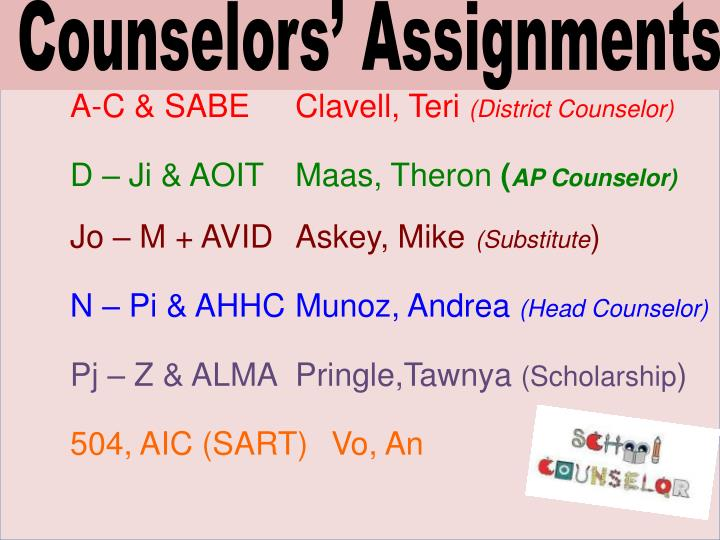 Counselors' Assignments
