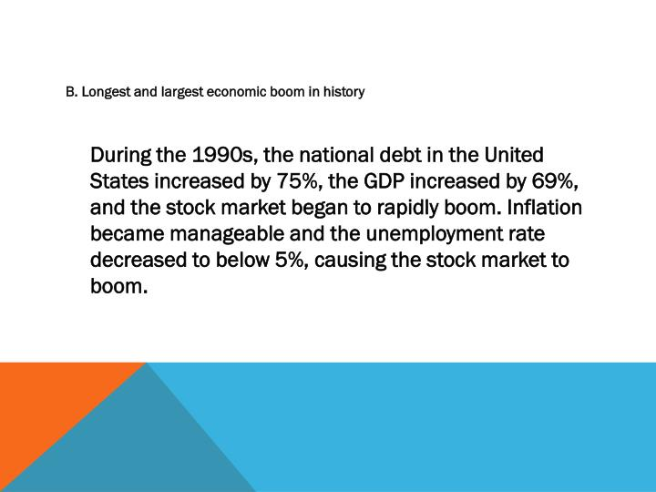 B. Longest and largest economic boom in history