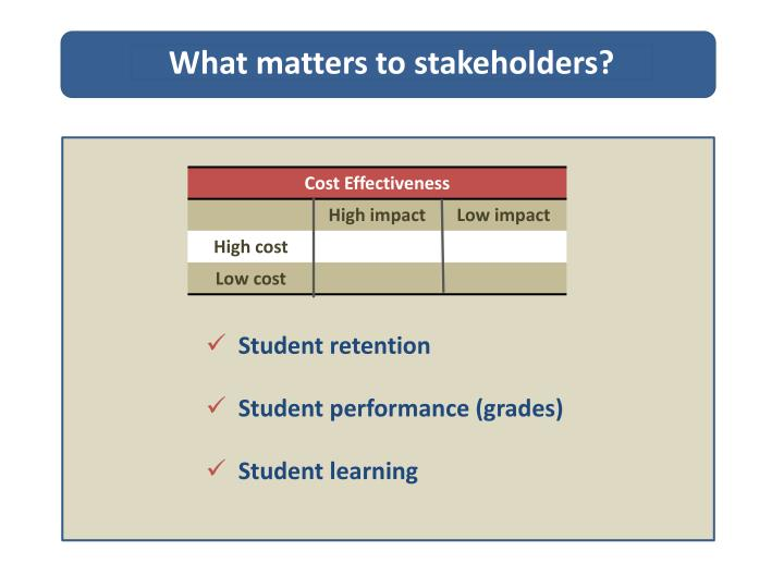 What matters to stakeholders?