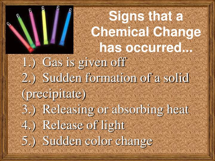 Signs that a Chemical Change has occurred...